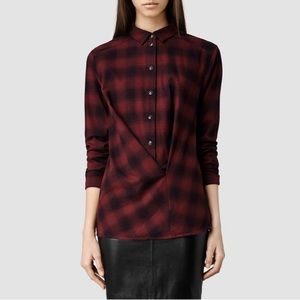 ALLSAINTS Cross Front Flannel Shirt